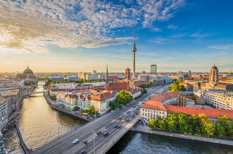 Aerial view of Berlin skyline with famous TV tower and Spree river (Photo: canadastock/Shutterstock)