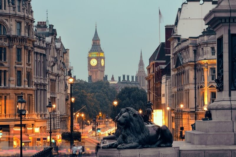 Trafalgar Square in London, England