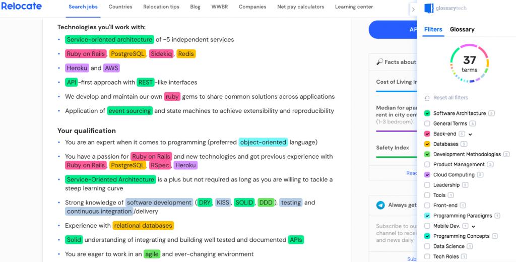 GlossaryTech Chrome extension